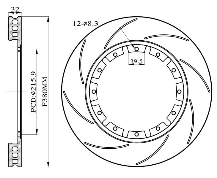 Tarcze hamulcowe nacinane do zestawu Big Brake 380mm 2015+ - GRUBYGARAGE - Sklep Tuningowy
